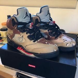 new concept 38df0 5441c Supreme Shoes - SOLD Desert Camo Supreme Jordan 5s
